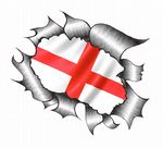 A4 Size Ripped Torn Metal Design With St. Georges Cross England Flag Motif External Vinyl Car Sticker 300x210mm